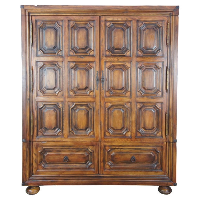Henredon for Ralph Lauren 1301-05 Sheltering Sky armoire. Made from oak with a brutalist inspired paneled front and old...