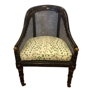 1920s Club Chair With Ebonized Faux Bamboo Frame and Caning