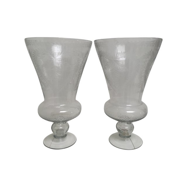 Glass Heart-Motif Hurricane Vases - A Pair - Image 1 of 3