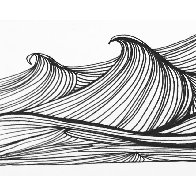 "2010s Christy Almond ""The Waves of the Sea"" Contemporary Pen & Ink Drawing For Sale - Image 5 of 8"