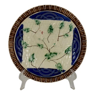 19th Century Continental Majolica Morning Glory Vine Plate For Sale