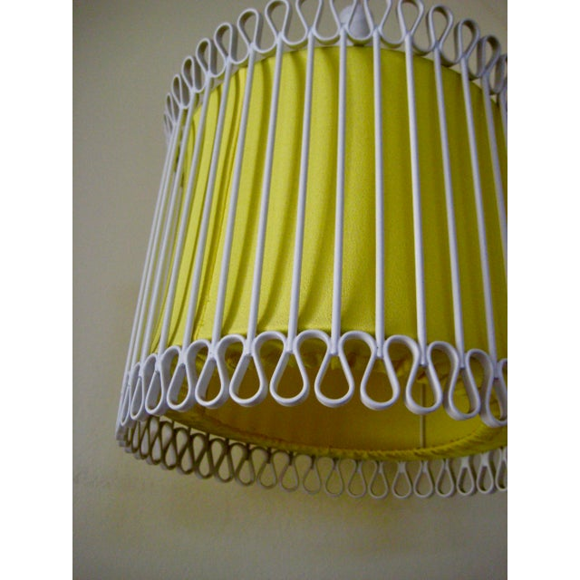 White Mid-Century Modern White and Yellow Iron Chandelier For Sale - Image 8 of 11