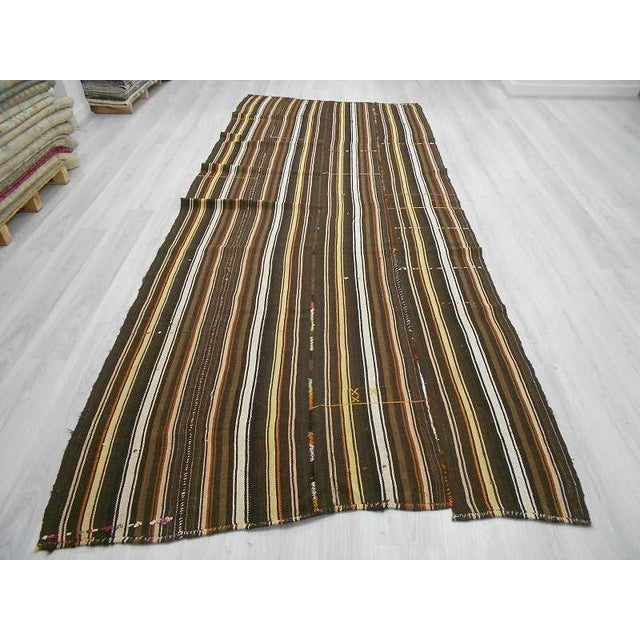 Islamic Vintage Turkish Kilim Handwoven natural Striped Rug - 5′5″ × 13′5″ For Sale - Image 3 of 6