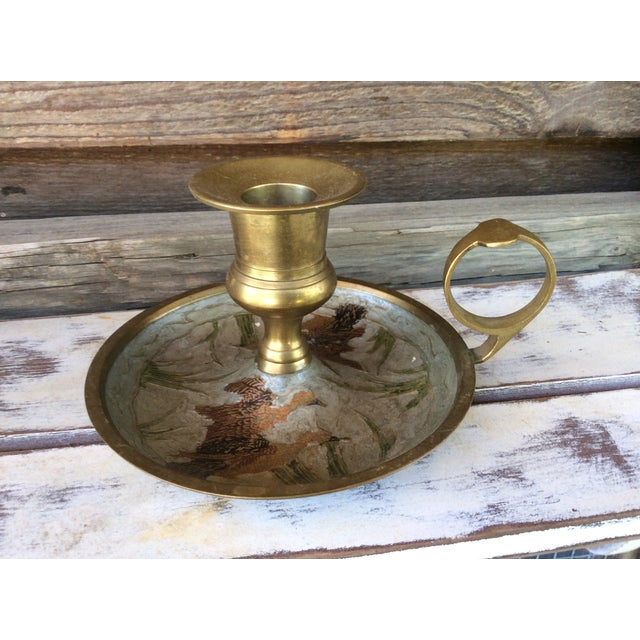 Vintage Brass Mother-of-Pearl Candle Holder - Image 2 of 6
