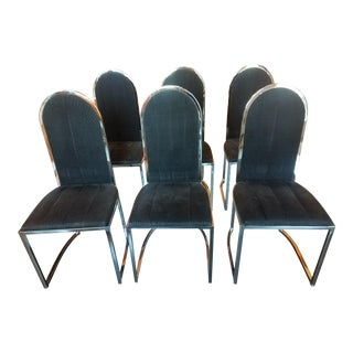 Set of Six 1970s Chrome Dining Chairs With Black Upholstery