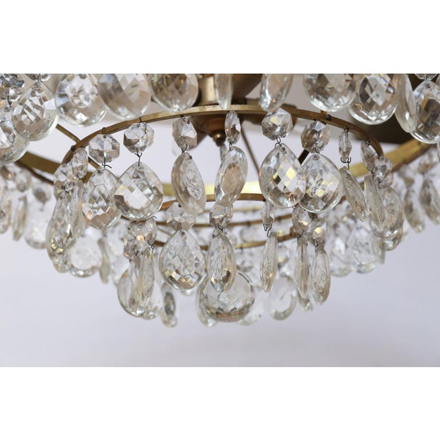 Hollywood Regency Gilt Brass and Crystal Chandelier by Palwa For Sale - Image 3 of 12