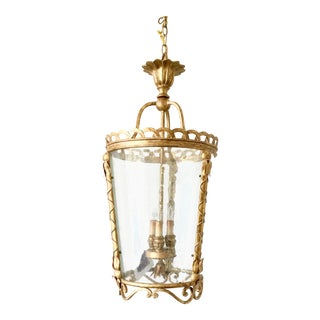 Transitional Lillian August for Currey & Co. Washed Gold Leaf Gainsford Lantern For Sale