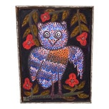 Image of Owl Oil Painting by Haitian Artist Sisson Blanchard, Framed For Sale