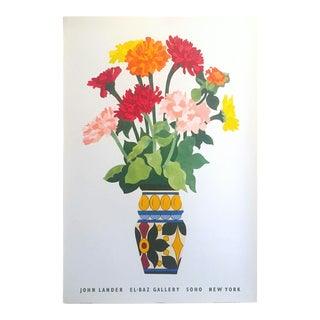 John Lander Vintage 1980s Contemporary Lithograph Print Soho New York Exhibition Poster For Sale