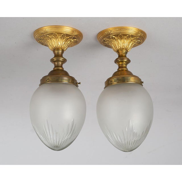 1920s Vintage 1920s Cut-Glass & Gilded Bronze Ceiling Lights - a Pair For Sale - Image 5 of 5