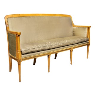 Directoire Fruitwood and Brass Inlaid Settee For Sale