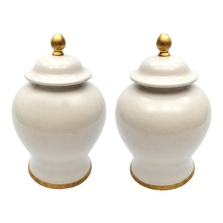 Italian Glazed Ceramic Jars by Paolo Marioni W/ Gold-Leaf Accents-A Pair For Sale
