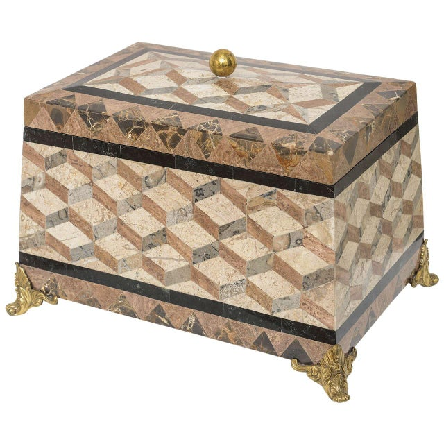 English Regency Revival 1980s Tessellated Stone Box For Sale - Image 11 of 11