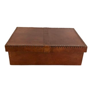 Tobacco Stained Leather Box For Sale