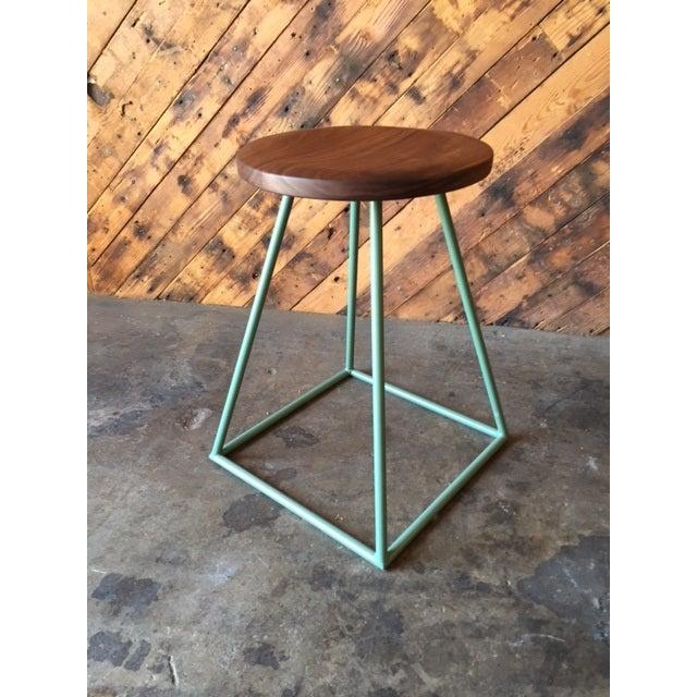 Walnut & Sage-Painted Steel Stool - Image 2 of 4