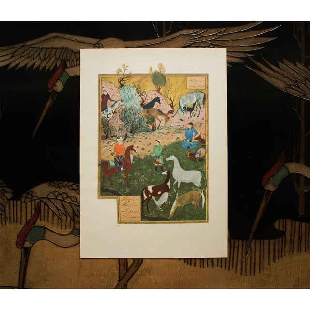 """1940s 1940 Original Swiss Lithograph After Persian Painting """"The Herdsman and King Dara"""" by Bihzad For Sale - Image 5 of 8"""