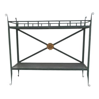 20th Century Patinated Green Metal Console