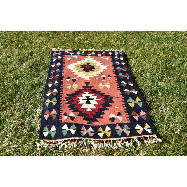 Unique Turkish Vintage Hand Knotted Traditional Authentic Southwestern Style Anatolian Kilim Rug 2x3ft Size: 1.6 x 3 ft (...