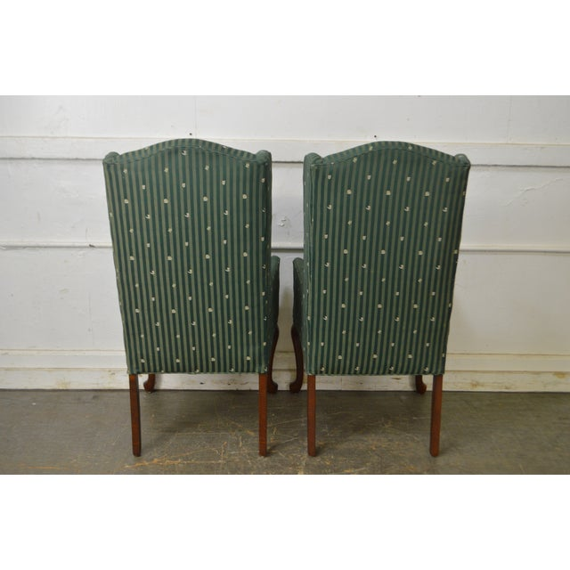 Thomasville Pair of Cherry Queen Anne Host Wing Chairs - Image 8 of 13