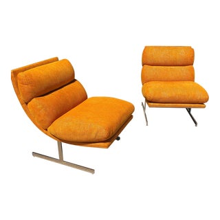 1970s Steel Framed Scoop Lounge Chairs by Kipp Stewart for Directional - a Pair For Sale