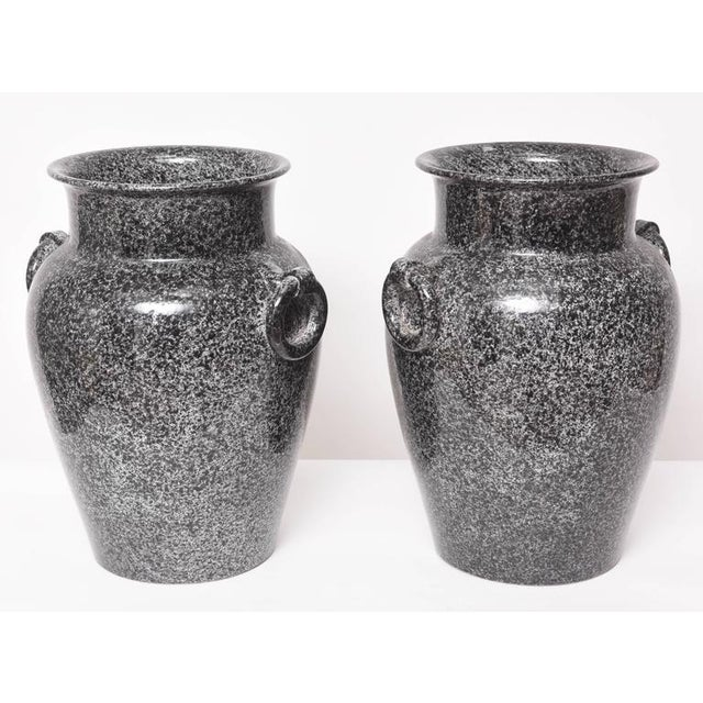 Mid-Century Glazed American Black and Gray Pottery Urns Planters - a Pair For Sale In West Palm - Image 6 of 9