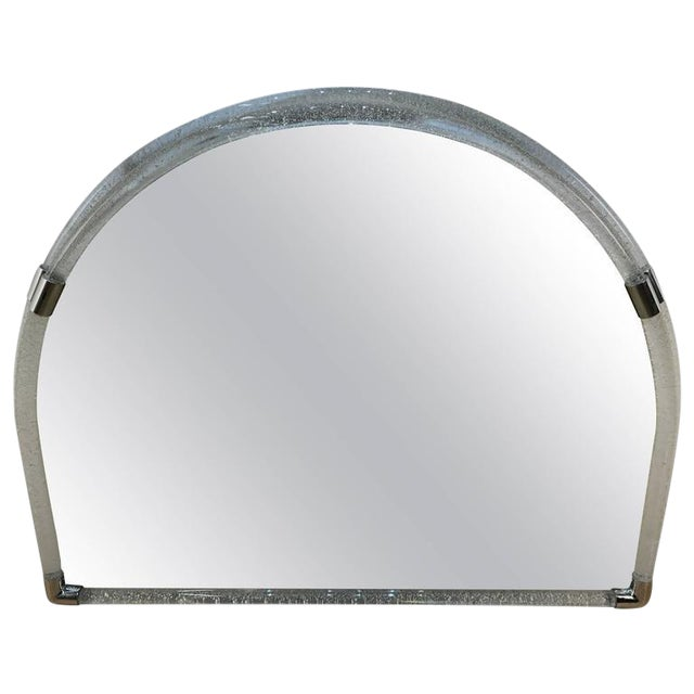 Large Venini Opaque Glass Semi-Circle Wall Mirror For Sale