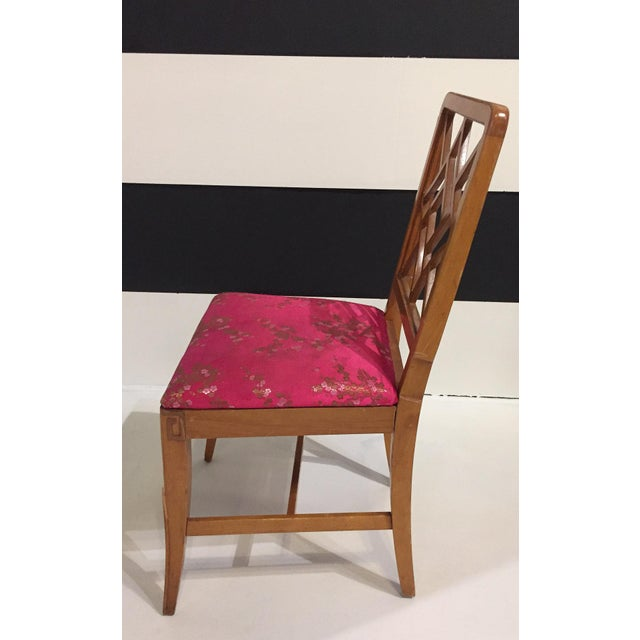 1940's Fretwork Greek Key Side Chair With Asian Upholstery - Image 4 of 9