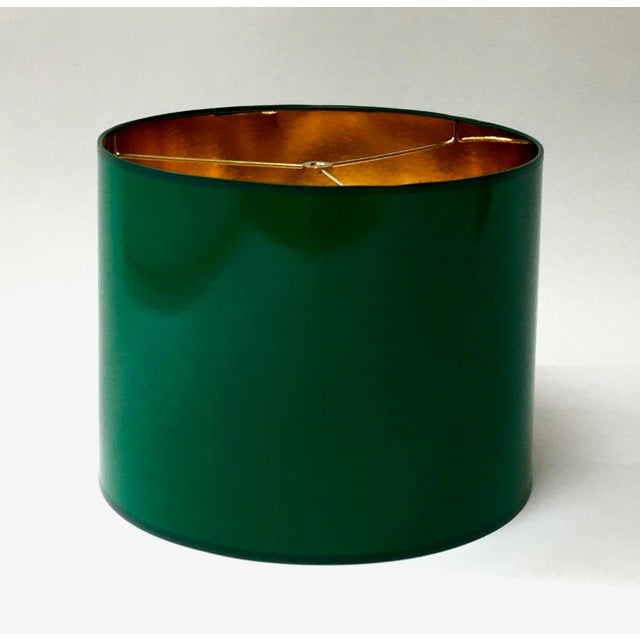 Brass Large High Gloss Dark Green Drum Lamp Shade With Gold Lining For Sale - Image 7 of 7