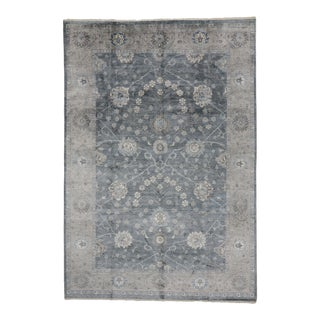 Contemporary Indian Oushak Wool & Silk Rug - 08'01 X 11'09 For Sale