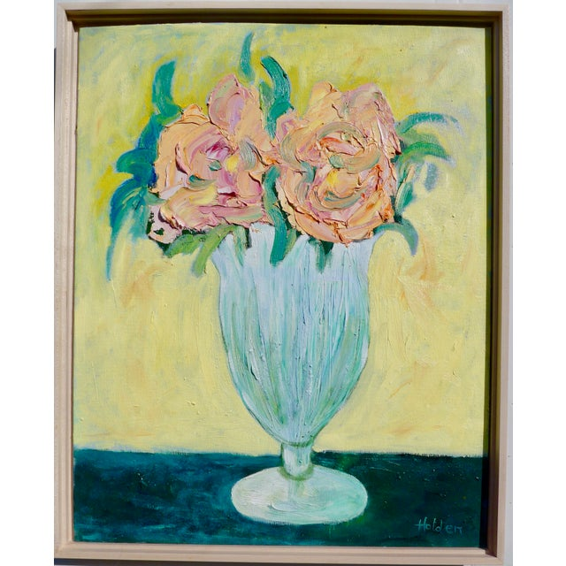 Green French Pink Roses Still Life For Sale - Image 8 of 9