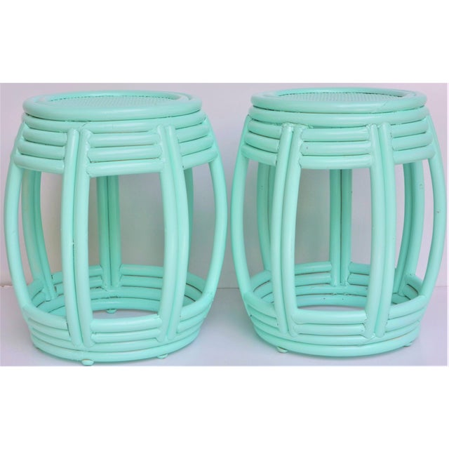 Textile Handwoven Rattan Painted Barrel Tables / Stools - a Pair For Sale - Image 7 of 7