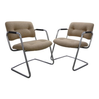 1970s Vintage Steelcase Chrome Cantilevered Chairs - A Pair For Sale