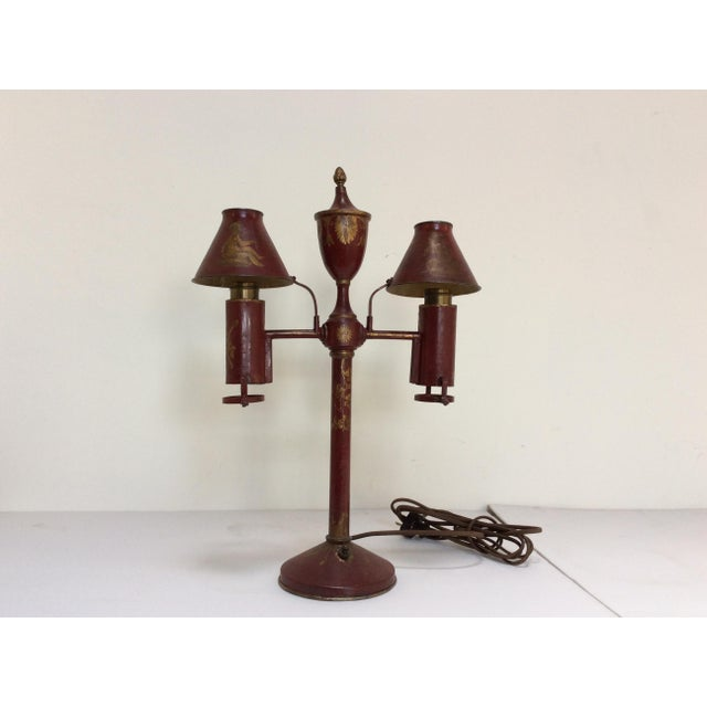 Antique French Red Tole Twin Shaded Table Lamp - Image 2 of 9