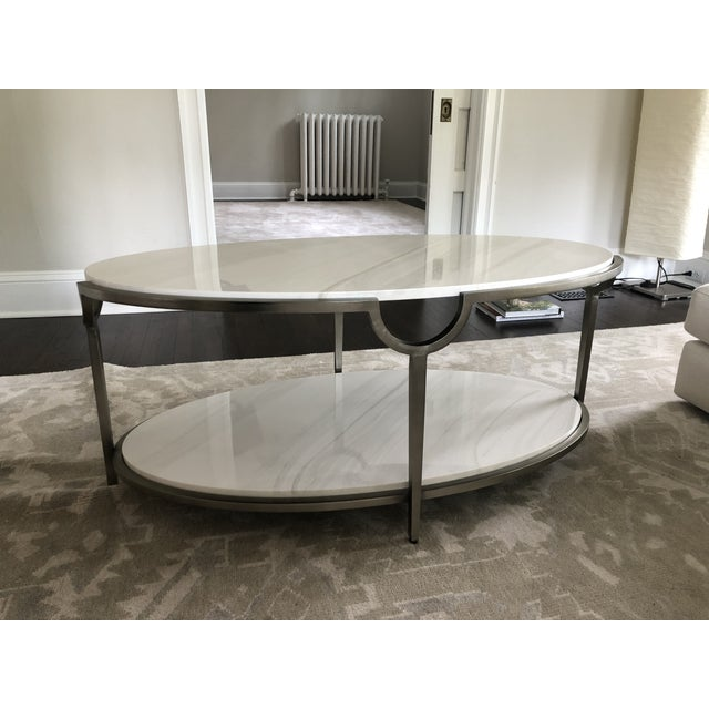 Bernhardt Contemporary Oval Faux Marble and Steel Two Tier Coffee Table For Sale - Image 4 of 11