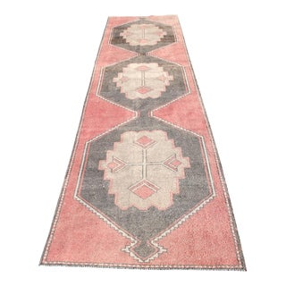 1970s Vintage Turkish Runner Rug - 3′2″ × 12′3″ For Sale