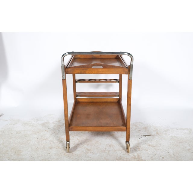 Mid-Century Wooden Bar Cart For Sale - Image 9 of 11
