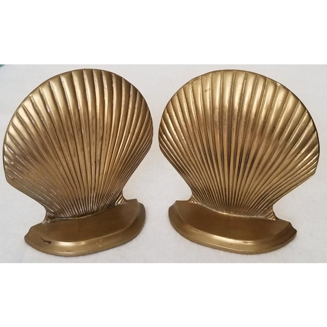 Vintage Brass Clam Shell Bookends - a Pair For Sale In Phoenix - Image 6 of 6