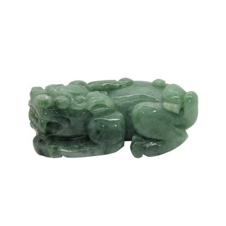 Chinese Hand Carved Natural Jade Feng Shui Lucky Pixiu Figure Pendant For Sale