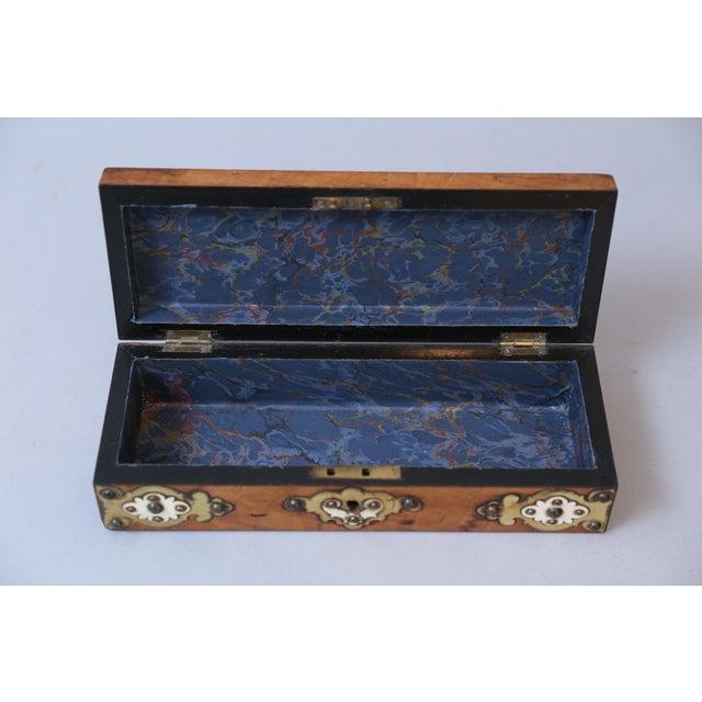 19th C. Brass & Bone Mounts Walnut Box - Image 6 of 7