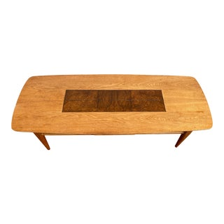 1960's Danish Modern Walnut and Burlwood Coffee Table With a Drawer For Sale