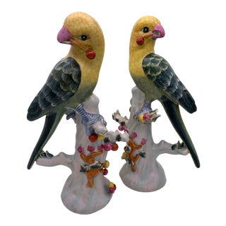 Vintage Porcelain Ceramic Chinese Parakeet - a Pair For Sale