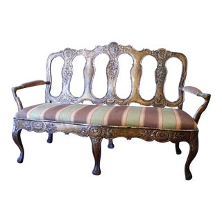 Portuguese Rococo Carved and Gilded Settee, 18th Century For Sale