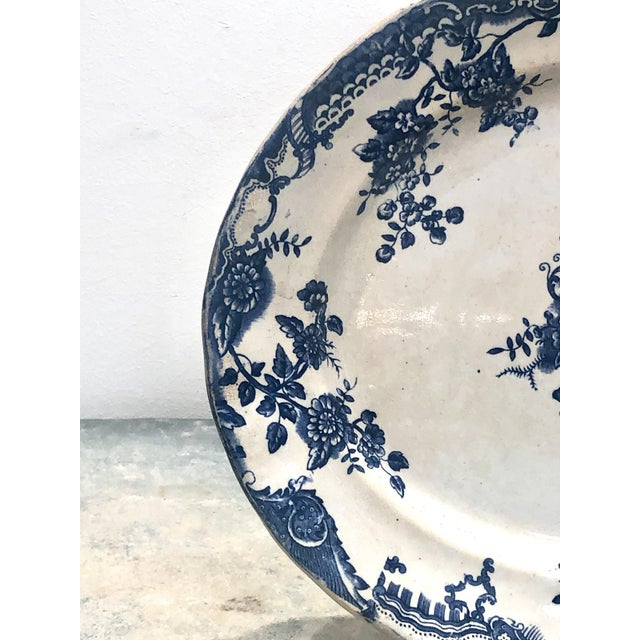 Staffordshire Staffordshire Victorian Blue and White Platter, England Circa 1870 For Sale - Image 4 of 6