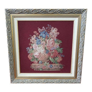 1980s Vintage Vanguard Studios Gilded Wood Framed Floral Tapestry Art For Sale