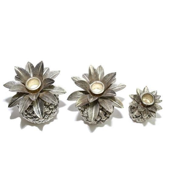 Godinger Vintage Silver Pineapple Candle Holders - Set of 3 For Sale - Image 4 of 6