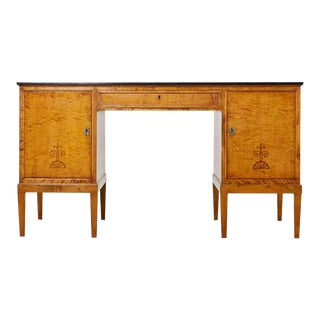 Swedish Modern Art Deco Birch Writing Table by Bodafors For Sale