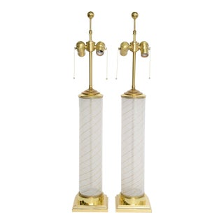 Pair of Empire Inspired Dino Martens Murano Columnar Mid-Century Modern Table Lamps For Sale