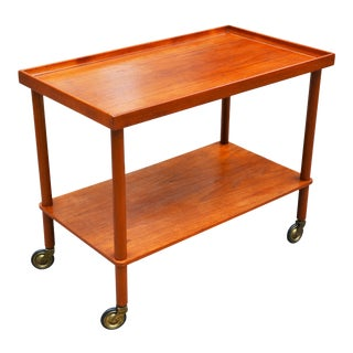 1960's Mid-Century Danish Modern Teak Bar Cart by Poul Hundevad For Sale