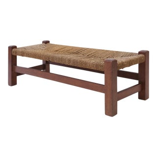 Heals Oak and Rush Long Stool For Sale