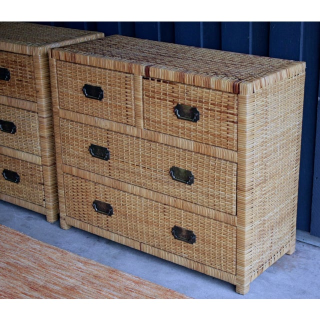 Gold Lacquered Rattan Bachelor Chest (Pair Available) For Sale - Image 8 of 13